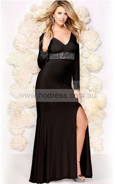 Long Sleeves Criss-cross Chiffon V-neck Sheath Formal Dresses gjea70312--Hodress
