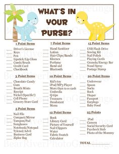 What's In Your Purse Baby Shower Game Dinosaurs  by PhotoGreetings, $7.50