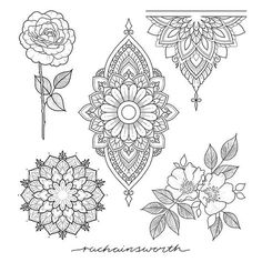 Flower tattoos are a common tattoo design for many people. Flower tattoos are a common tattoo design for many people. Today, tattoo artists compete with each other to create the most flowery, colorfu. Kunst Tattoos, Neue Tattoos, Tattoo Drawings, Body Art Tattoos, Maori Tattoos, Tattoo Illustrations, Female Tattoos, Mandala Tattoo Design, Flower Tattoo Designs
