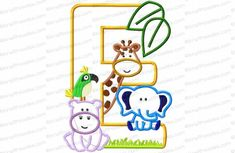 Letter E Jungle-Safari-Zoo Applique Embroidery Design