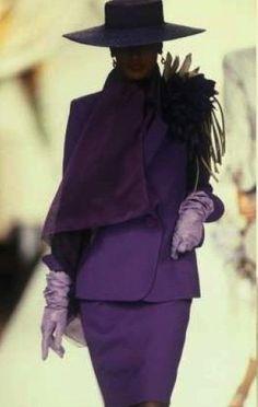 1990 Christian Dior John Galliano, Purple Fashion, 90s Fashion, Fashion Photo, Mode Vintage, Vintage Vogue, Vintage Fashion, Purple Lilac, Shades Of Purple