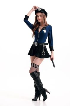 could edit a bit :) Police Halloween Costumes, Cop Costume, Costumes For Teens, Adult Costumes, Botas Sexy, School Girl Outfit, Halloween Disfraces, Halloween Fancy Dress, Costume Accessories