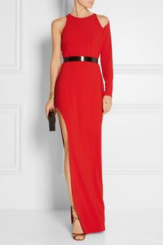 Halston Heritage | Embellished one-shoulder stretch-crepe gown | NET-A-PORTER.COM