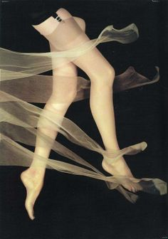 """Vintage Vogue - February 1, 1954. Photo of """"delicate stockings"""" by Erwin Blumenfeld."""
