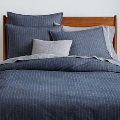 I keep coming back to this bedding... Flannel Pinstripe Duvet Cover + Shams | west elm