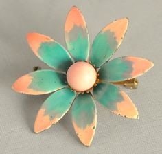 Vintage Enamel Flower Brooch MOD Peach and by etherealemporium, $17.00
