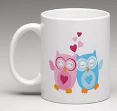 Owl mug, Cute owls in love mug,  Engagement present, Wedding gift, Teacher gift, Housewarming mug by BeesMugShop on Etsy