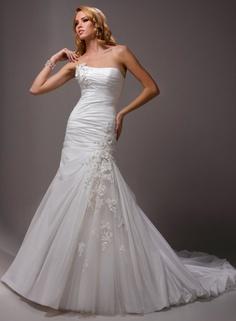 A-line Strapless Ruched Bodice Applique Flowers Accennt Taffeta Wedding Dress-wf0050, $279.95