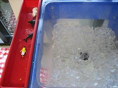 sensory table, ice with penguins and polar bears