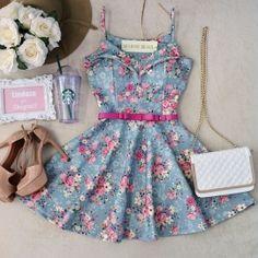 Vestido Alcinha NEOPRENE C/ Bojo  Princesa Carla ( Estampa Mini flores/ Azul)