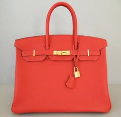 Hermes Geranium Birkin Bag 35 Gold Hardware Togo New Authentic