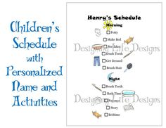 Kids Schedule  Personalized Printable Daily by DesigningLife, $5.00