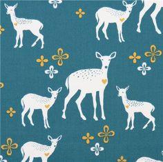 teal monaluna flower heart deer forest animal organic fabric Deerheart