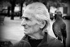 vecchio con piccione
