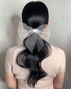 Wedding Updos Ultimate Guide - Most Trendy Ideas For 2021/2022 ❤ wedding updos elegant ponytail with white bow nadigerber #weddingforward #wedding #bride #weddinghair #weddingupdos #bridalhair