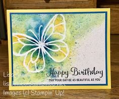 Stampin' with Lisa: Beautiful Day Birthday with Brusho Stampin' Up! Beautiful Day stamp set Brusho Emboss Resist