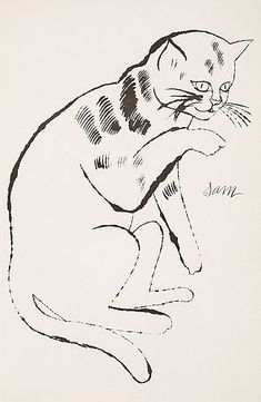 Andy Warhol - Sam with his paw up, 1954 Taken from 25 Cats name[d] Sam and one Blue Pussy via Bukowskis Illustrations, Illustration Art, Johannes Itten, Andy Warhol Pop Art, Image Chat, Cat Names, White Cats, American Artists, Belle Photo