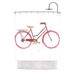 "Kess InHouse Alik Arzoumanian ""Bike"" White Pink Shower Curtain"