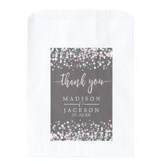 #monogrammed - #Blush Pink Watercolor Confetti Wedding Thank You Favor Bag