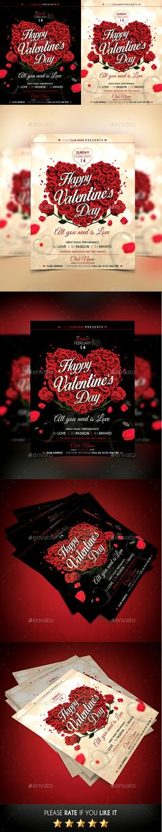 Valentines Day Flyer Template  Flyer Template Email Design And