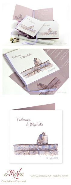 Looking at the Future! Wedding Card by e-MoVeo Cards Invito matrimonio Hochzeitseinladung #acquarello #Aquerell www.emoveo-cards.com