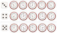 Oefen met dit dobbelspel het kloklezen of het uur en halfuur. Alice, School, Corona, Stockings