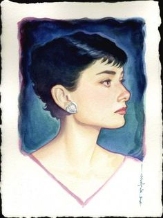 {Audrey Hepburn} watercolour by Brian Stelfreeze. *she looks like she has dark blue hair. Cool. (: