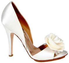 """Diamond White Badgley Mischka Randal Bridal Shoes $215.00 """"A 3 7/8"""" heel makes this a very dramatic look for your wedding day. The gorgeous flower at the toe shows your flirty side. The shoe is made from diamond white silk  http://www.bellissimabridalshoes.com/Diamond-White-Badgley-Mischka-Randal-Bridal-Shoes-Prodview.html"""