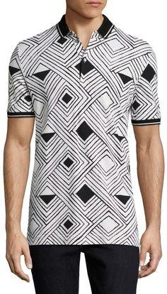 Dolce   Gabbana Men s Cotton Diamonds Pique Polo Camisas Polo Impressas af196ebdde334
