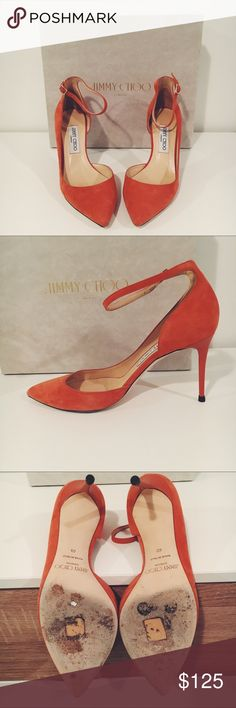 """Jimmy Choo Half-d'Orsay Agate Suede Pump 85 This is a pair of absolutely gorgeous Jimmy Choo pumps. They are 85 mm tall in a half-d'Orsay style with an adjustable ankle strap. They are in a beautiful orange color (Jimmy Choo's """"Agate""""). Worn once and in excellent condition with brand new heel caps. A few small marks (see photos) that are barely noticeable and could easily be cleaned. Comes with original box and dust bag. Jimmy Choo Shoes Heels"""