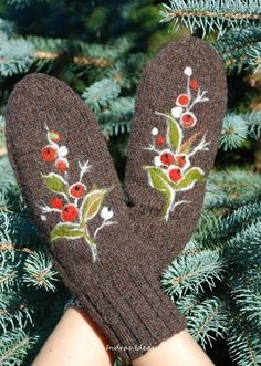 Brown Mittens with berry  warm and beautiful by Indrasideas, $39.00