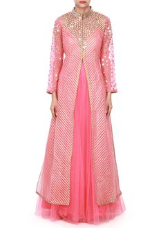 Coral pink anarkali suit adorn in gotta patti and mirror embroidery only on Kalki Designer Party Wear Dresses, Kurti Designs Party Wear, Indian Designer Outfits, Kurta Designs, Indian Outfits, Blouse Designs, Lehenga Designs, Gown Pattern, Dress Patterns