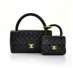 567ee8ce52a6 Chanel Black Quilted Flap Leather Pair 2 in 1 Set Hand Bag