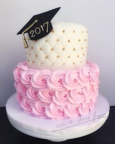 A quilted fondant/buttercream rosette cake for a grad party tonight. It's so soft and pretty! and congrats to all the other grads near and far! College Graduation Cakes, Graduation Desserts, Graduation Party Themes, Graduation Cupcakes, Grad Parties, Graduation Ideas, Buttercream Rosette Cake, Girl Cakes, Savoury Cake