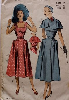 1940s Sundress and Caplet Cape Advance 5511 Vintage Sewing Pattern Size 20 Bust 38 on Etsy, $40.00