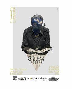 Cartel para Slam Poetry realizado por Pati San Martín. Ilustración · Diseño · Cartelería · Collage