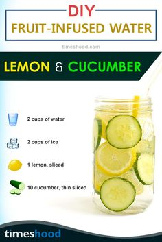 Detox Water for gorgeous looking outfit, try lemon cucumber infused water. Boosting metabolism, clear skin and weight loss are few benefits of this detox water recipes. Get 6 more DIY infused water recipes here. Detox Drink for Weight loss. Cucumber Infused Water, Infused Water Recipes, Cucumber Lemon Water Benefits, Water Detox Recipes, Detox Diet Drinks, Cleanse Detox, Juice Cleanse, Diet Detox, Stomach Cleanse