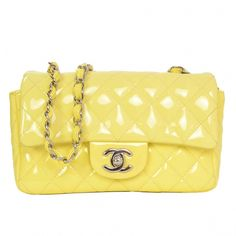 6d5070f223dbde Chanel '15 Yellow Patent Quilted Rectangular Mini Flap Bag  #WomensShoulderbags