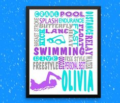 Swimmers gift, Girl's swim, Personalized Swim Print, Swim team gift,  swimmer art, Swim gift, Dive Team gift