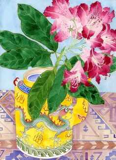 Illustration of rhododendron and yellow teapot by Gabby Malpas Art And Illustration, Illustrations, Art Floral, Watercolor Flowers, Watercolor Paintings, Watercolor Portraits, Watercolor Landscape, Abstract Paintings, Watercolours