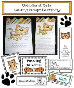 """End of the year activities: Great """"fill a bucket"""" activity too. """"Compliment Cats.""""  Children color their cat (Many did shades of blue because of Pete the Cat) and accordion-fold their paper. Pick a direction; everyone passes around their cat for all the classmates to sign, finally ending up with their own."""