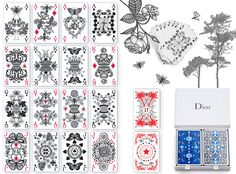 The deck of cards are inspired by Christian Dior's gardens in Granville, Milly-la-Forêt, and La Colle Noire. They were designed by Michaël Cailloux and also include Monsieur Dior's personal lucky charm, the four-leaf clover. #dior #playingcards #design #michaelcailloux #christiandior