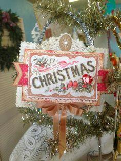 Vintage style, Christmas postcard ornament, glitter, tinsel
