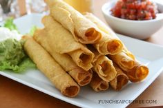 Delicious 5 minute chicken taquitos + 3 easy, 10-minute recipes using the SAME leftovers! Includes recipe printable, from FunCheapOrFree.com