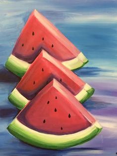 Wine and Design is one of the most popular paint and sip franchises. Canvas Painting Quotes, Easy Canvas Painting, Easy Paintings, Watercolor Paintings, Canvas Art, Watermelon Drawing, Watermelon Painting, Fruit Painting, Drawings Of Friends