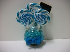 Click here for more lollipop bouquets and arrangements! Small Lollipop Centerpiece Blue by EdibleWeddings on Etsy, $19.99. Lollipops, bouquet, centerpiece, arrangement, wedding, birthday, rehearsal dinner, baby shower, bridal shower, custom, customized, baby shower, Blue, its a boy