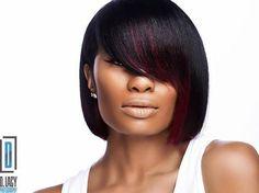 Black Blunt Bob With Burgundy Balayage - Black Girl Hair Styles Black Bob Hairstyles, African Hairstyles, Trendy Hairstyles, Weave Hairstyles, Bob Haircuts, Hairstyles Pictures, Hairstyles 2018, Girl Short Hair, Short Hair Cuts