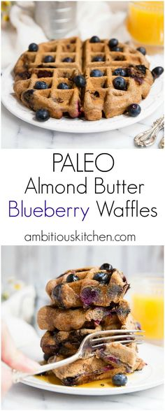 Blueberry paleo waffles made with almond butter and just a tiny bit of coconut flour. No sugar added and naturally fiber & protein packed!