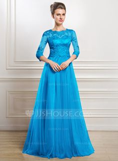A-Line/Princess Scoop Neck Floor-Length Tulle Mother of the Bride Dress With Lace Beading Sequins (008056835)