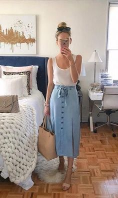 Women's Summer Fashion, Modest Fashion, Fashion Outfits, Skirt Outfits, Cool Outfits, Demin Skirt Outfit, Denim Skirt, Casual Outfits, Mode Zara